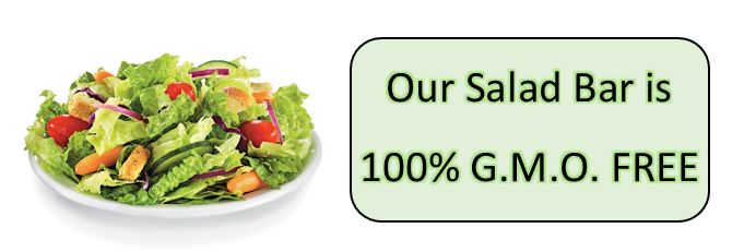 gmo free and salad plate